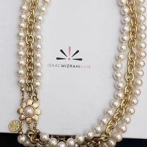 Isaac Mizrahi Pearl & Gold Necklace
